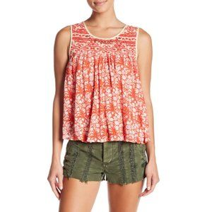 Free People Lucky Coin Linen Blend Floral Tank Top